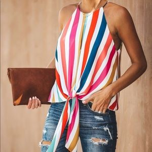 Vici rainbow 🌈 striped gondola tie front top